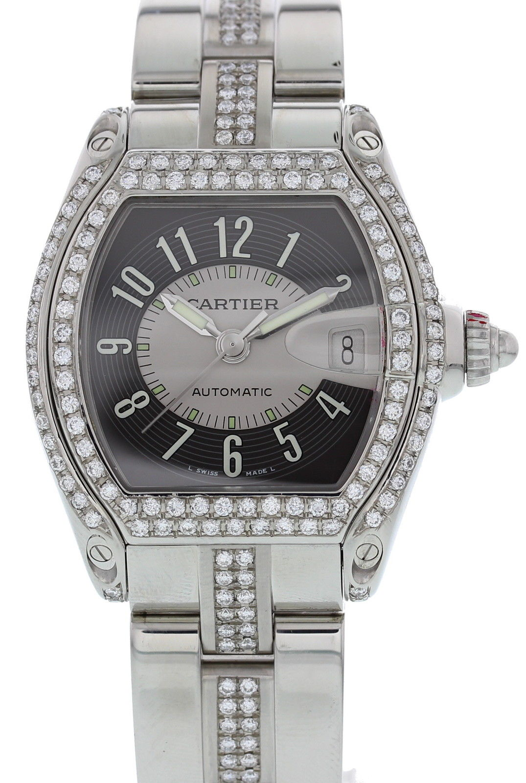 "Image of ""Cartier Roadster 2510 Stainless Steel & Diamonds 38mm Mens Watch"""