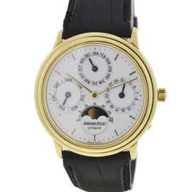 Audemars Piguet Quantieme Perpetual Calendar 18K Yellow Gold & Leather 36mm Watch