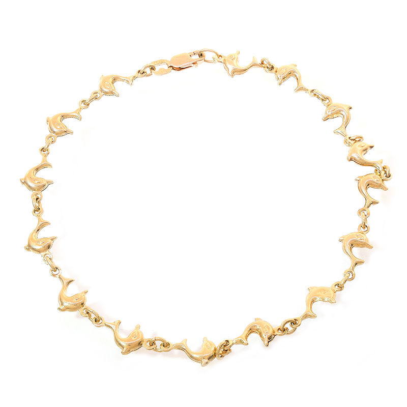 "Image of ""14K Yellow Gold Bottlenose Dolphin Ankle Bracelet"""