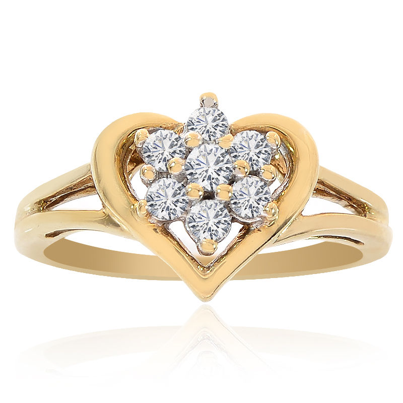 """Image of """"10K Yellow Gold 0.20 Ct Round Cut Diamond Heart Cluster Ring Size 4.25"""""""