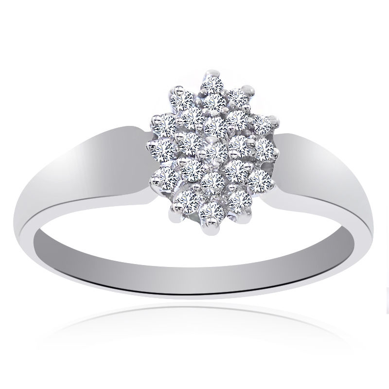 "Image of ""14K White Gold 0.25 Ct Round Cut Diamond Cluster Pyramid Ring Size"""