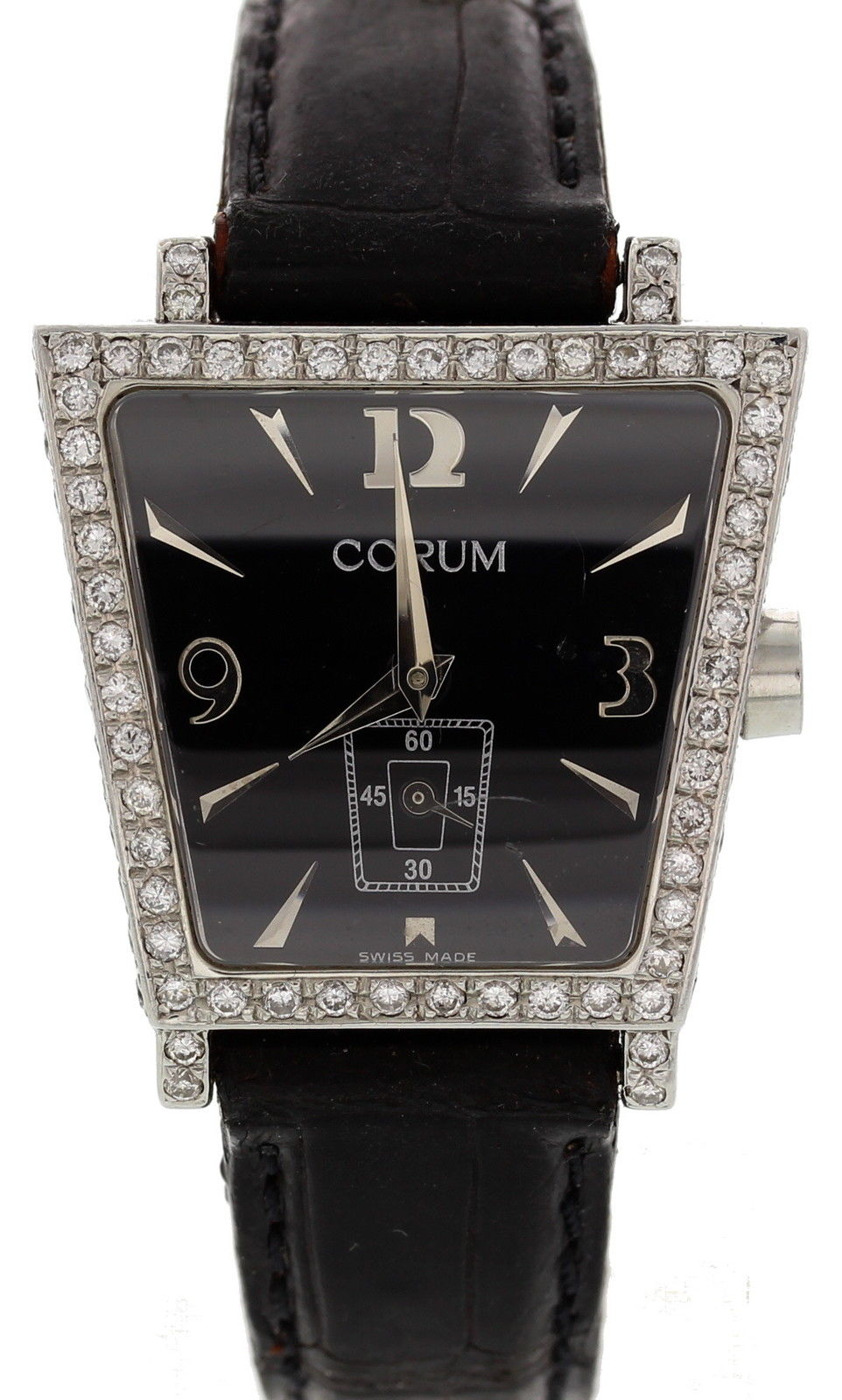 "Image of ""Corum Trapeze 105.404.20 Stainless Steel & Leather w/Diamonds Quartz"""
