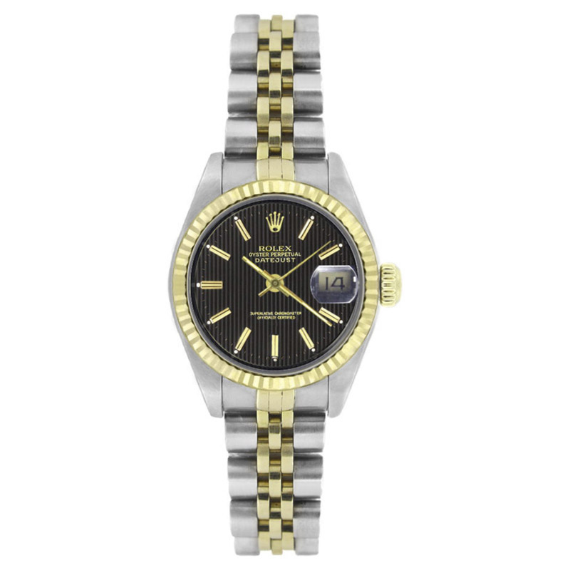 "Image of ""Rolex Datejust 69173 Stainless Steel & 18K Yellow Gold Black Tapestry"""