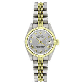 Rolex Datejust 69173 Stainless Steel & 18K Yellow Gold Silver Roman Dial 26mm Womens Watch