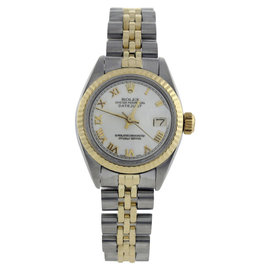 Rolex Datejust 69173 Stainless Steel & 18K Yellow Gold White Roman Dial 26mm Womens Watch