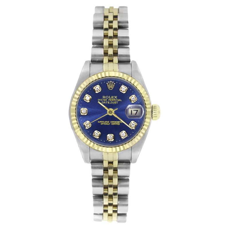 """Image of """"Rolex Datejust 69173 Stainless Steel & 18K Yellow Gold Blue Diamond"""""""