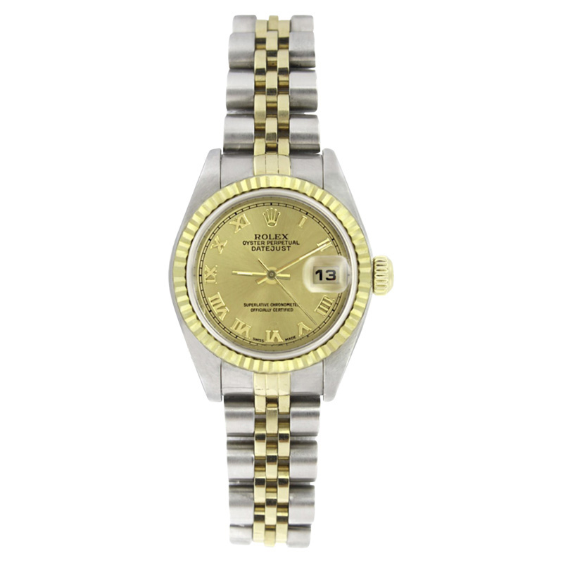 "Image of ""Rolex Datejust 69173 Stainless Steel & 18K Yellow Gold Champagne Roman"""