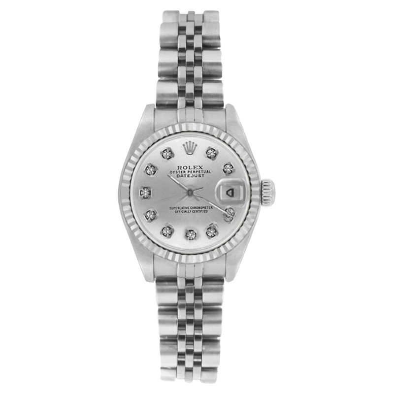 "Image of ""Rolex Datejust 69174 Stainless Steel Silver Diamond Dial 26mm Womens"""