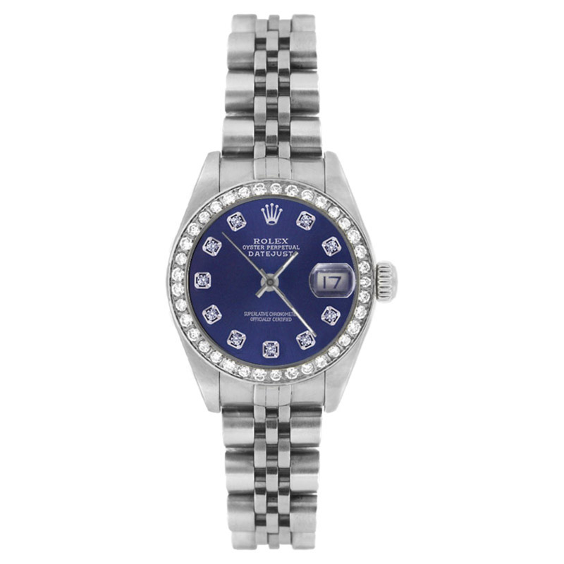 """Image of """"Rolex Datejust 69174 Stainless Steel Blue Diamond Dial & Bezel 26mm"""""""