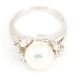 Mikimoto Platinum 950 Pearls Diamond Ring Size 5