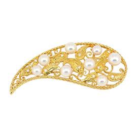 Mikimoto 18K Yellow Gold Pearl Diamond Brooch