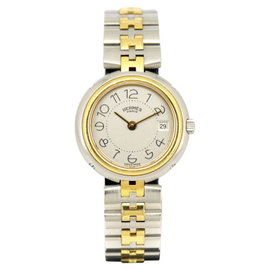 Hermes Profile Stainless & Gold Plated Gray Dial Quartz 25mm Women's Watch