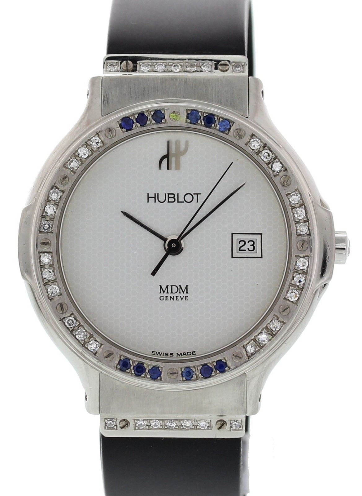 """Image of """"Hublot MDM Classic 1401.1 Stainless Steel / Rubber 32mm Womens Watch"""""""