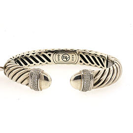 David Yurman Sterling Silver Diamond Waverly Cable Cuff Bracelet