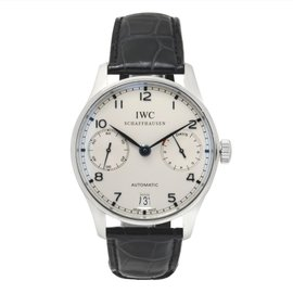 IWC Portugieser IW500705 Stainless Steel Automatic White Dial Blue Hand Leather Strap 42mm Mens Watch