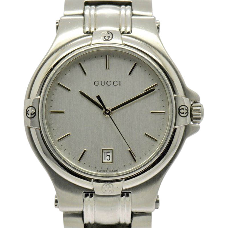 "Image of ""Gucci 9040M Stainless Steel with Silver Dial 34.5mm Mens Watch"""