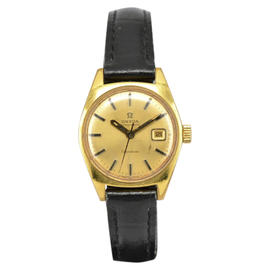Omega Geneve Gold Plated / Leather with Gold Dial 24.5mm Womens Watch