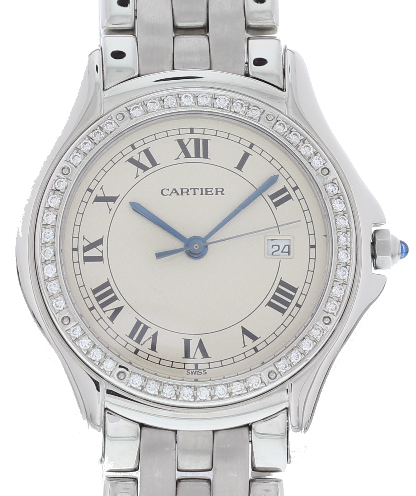 """Image of """"Cartier Panthere 987904 Stainless Steel with Off-White Dial 33mm Mens"""""""