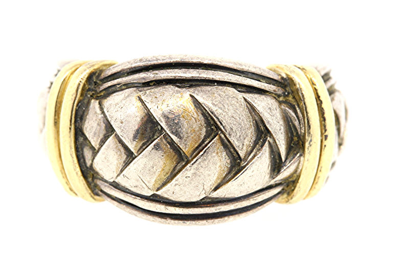 "Image of ""Scott Kay 925 Sterling Silver/18K Gold Braided Weave Ring Size 9.25"""