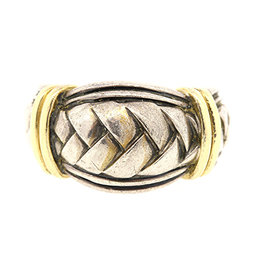 Scott Kay 925 Sterling Silver/18K Gold Braided Weave Ring Size 9.25