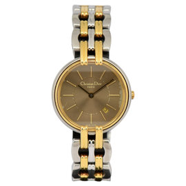 Christian Dior Stainless Steel & Gold Plated with Brown Dial 27mm Womens Watch