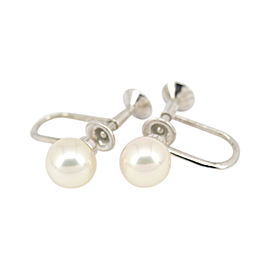 Mikimoto Sterling Silver & Akoya Pearl Stud Earrings
