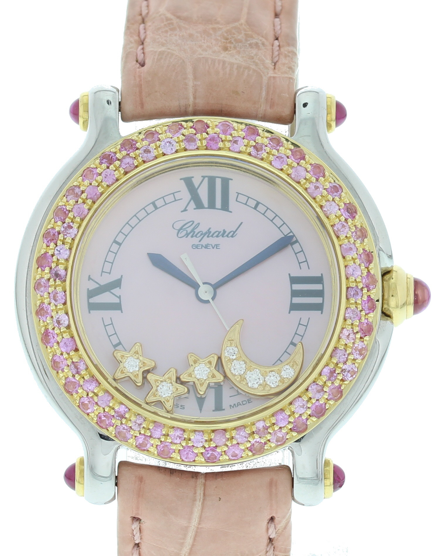 """Image of """"Chopard Happy Sport 27/8239-42 Stainless Steel & Leather wDiamonds"""""""