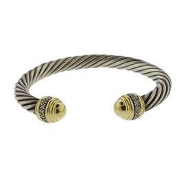 David Yurman 18K Yellow Gold Silver Cable Tip 0.50ct. Diamond Cable Bracelet