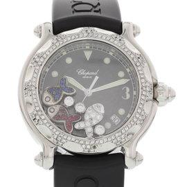 Chopard Happy Sport 28/8347/8 Stainless Steel & Rubber Black Dial wDiamonds Quartz 39mm Womens Watch
