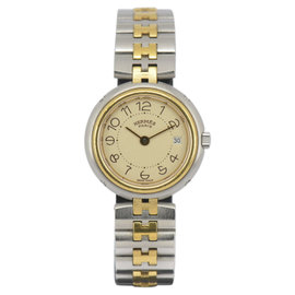 Hermes Profile Stainless Steel & Gold Plated with Beige Dial 25mm Womens Watch