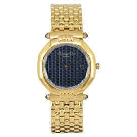 Christian Dior 63151 Gold Plated with Navy Blue 32mm Unisex Watch