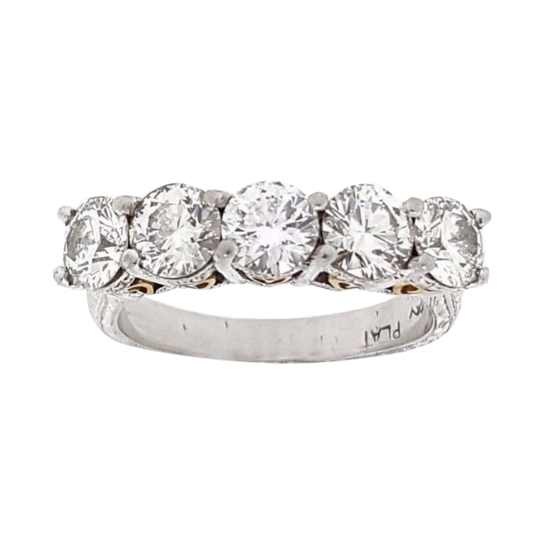 "Image of ""Beaudry Platinum/18K Yellow Gold & Five Stone Round Diamond Band Ring"""