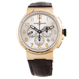 Ulysse Nardin Marine Chronograph 1506-150/61 18K Rose Gold / Leather 45mm Mens Watch
