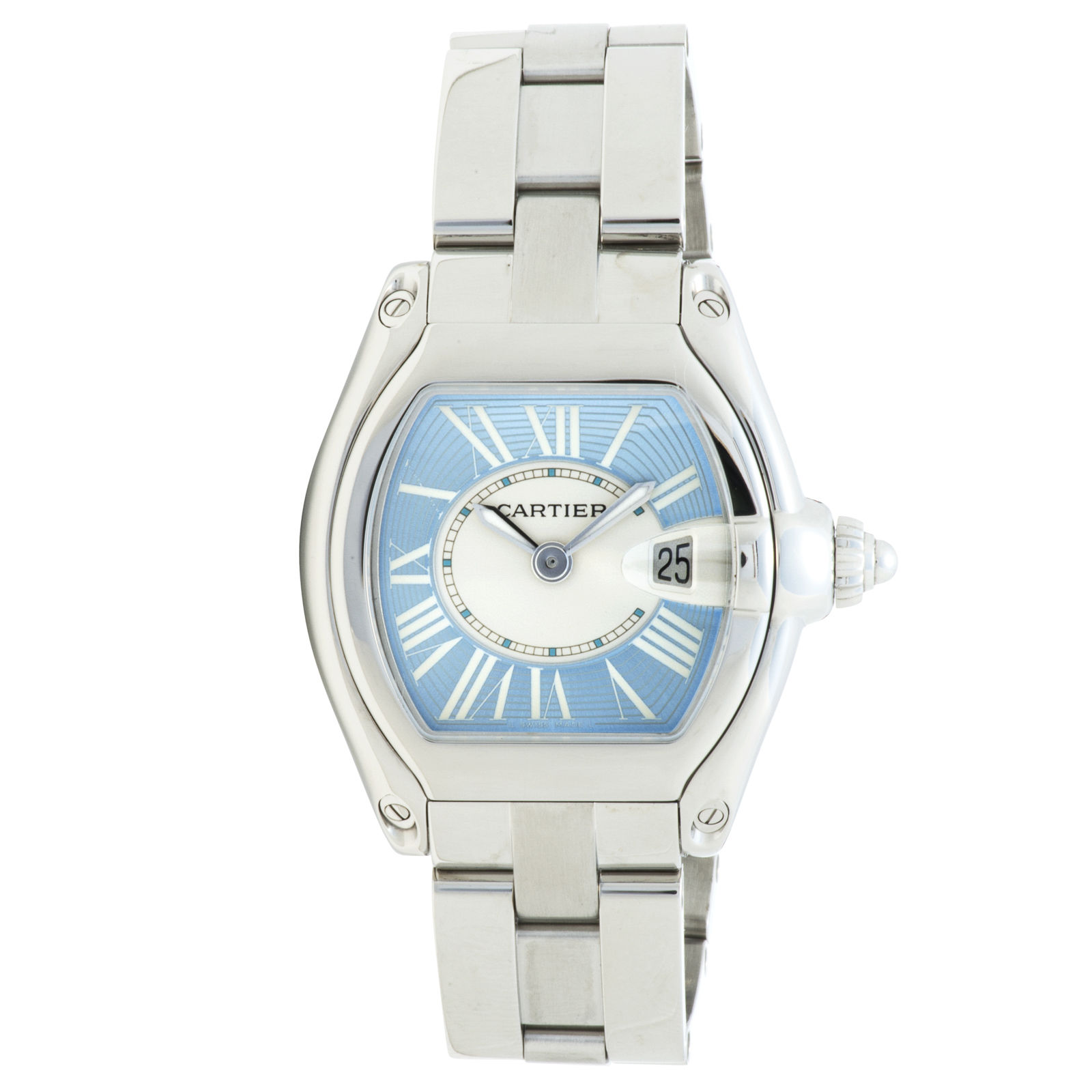"Image of ""Cartier Roadster 2675 Stainless Steel Blue Dial 32mm Womens Watch"""