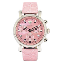 Versace Day Glam VLB030014 Stainless Steel & Leather Pink Pearl Dial Quartz 38mm Women's Watch