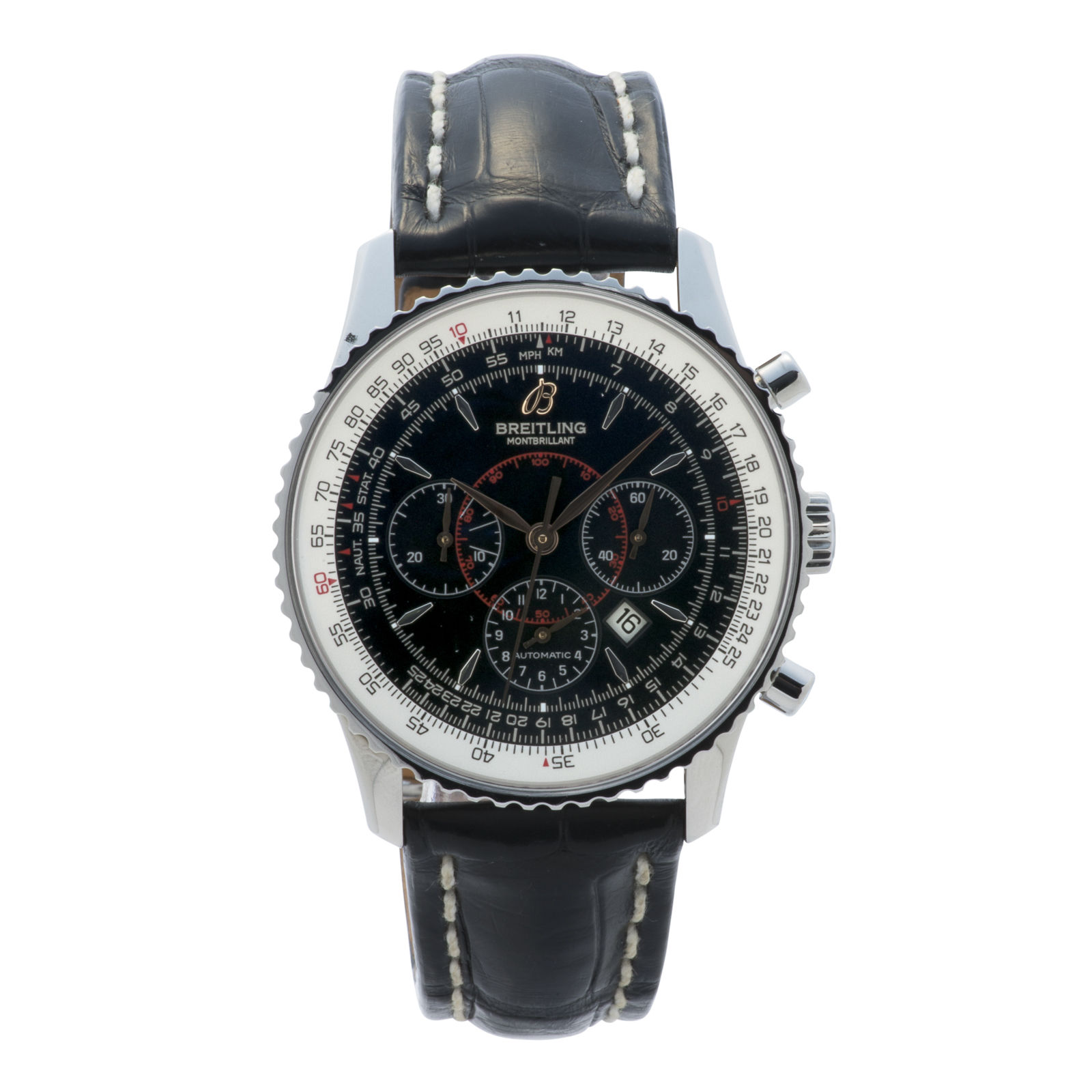 """Image of """"Breitling Montbrillant A41370 Stainless Steel Black Dial 37mm Mens"""""""