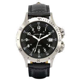 Hamilton Khaki H744511 Stainless Steel & Leather Black Dial Quartz 40mm Men's Watch