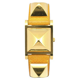 Hermes Medor ME1.210 Gold Plated / Leather 23mm Womens Watch