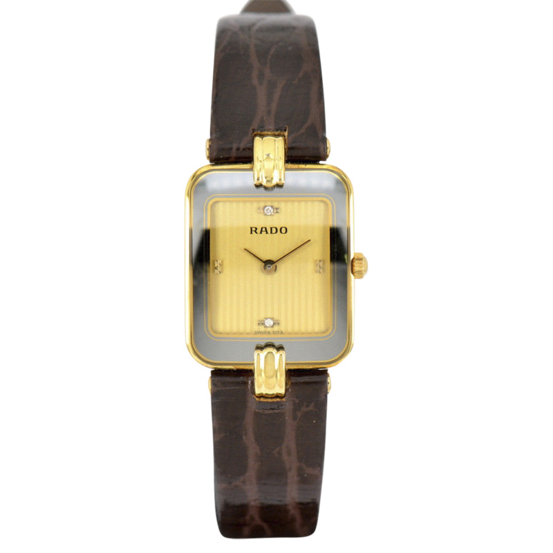"Image of ""Rado 153.8125.6 18K Yellow Gold / Leather 19mm Womens Watch"""