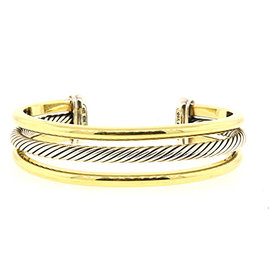 David Yurman 925 Sterling Silver with 18K Yellow Gold 3 Row Cable Cuff Bracelet
