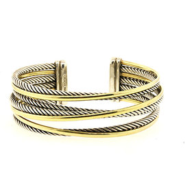 David Yurman 925 Sterling Silver with 18K Yellow Gold 7 Row Cable Cuff Crossover Bracelet