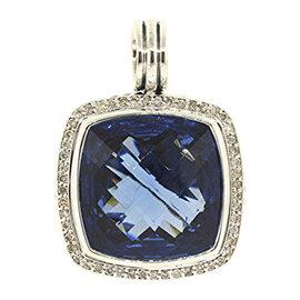 David Yurman 925 Sterling Silver with Albion London Blue Topaz & Diamond Pendant