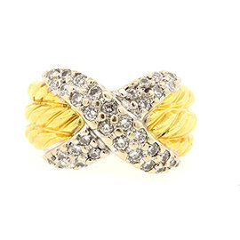 David Yurman 18K Yellow/White Gold & Diamond Triple Row Crossover Cable Ring Size 5.5