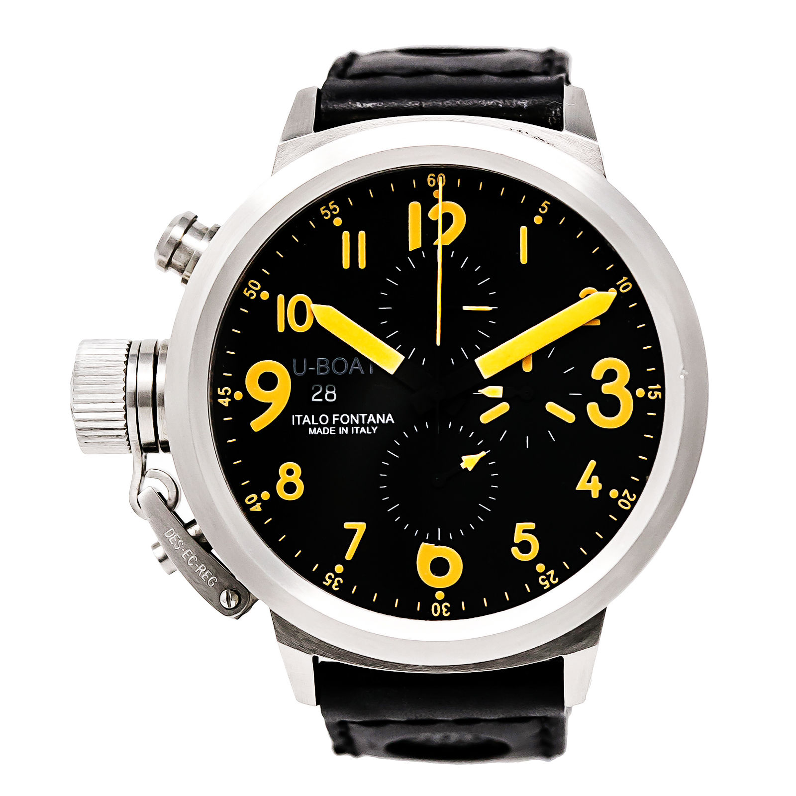 "Image of ""U-boat Flightdeck 7750/50 Stainless Steel / Leather 50 mm Mens Watch"""