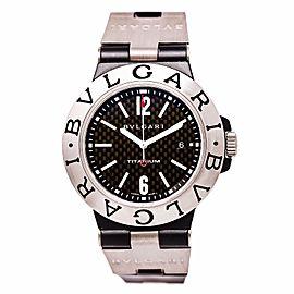 Bulgari Diagono TI44TA Titanium Black Dial Rubber Band 44mm Mens Watch