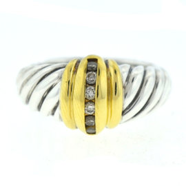 David Yurman 925 Sterling Silver & 18K Yellow Gold with Diamond Cable Ring Size 7.0
