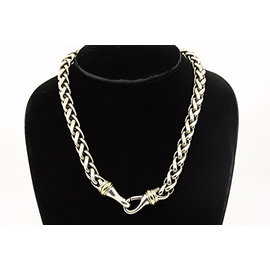 David Yurman 925 Sterling SIlver with 14K Yellow Gold Wheat Chain Necklace