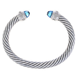 David Yurman Sterling Silver with Blue Topaz & 0.16ct. Diamonds Cable Classic Cuff Bracelet