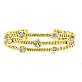 David Yurman 18K Yellow Gold with Diamond Confetti Cuff Bracelet