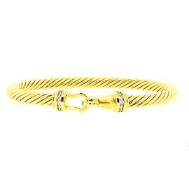 David Yurman 18K Yellow Gold with Diamond Buckle Hook Clasp Bangle Cable Bracelet